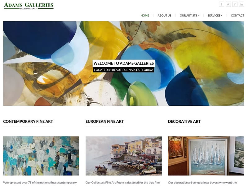 Adams Galleries - www.adamsgalleries.com - Responsive HTML Website for Art Gallery with SQL Server based application used for searching paintings.