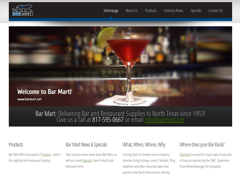 Barmart.net - Responsive Website and Reporting application developed by McGee Technologies